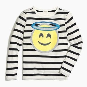 NWT Girls' long-sleeve angel emoji graphic T-shirt